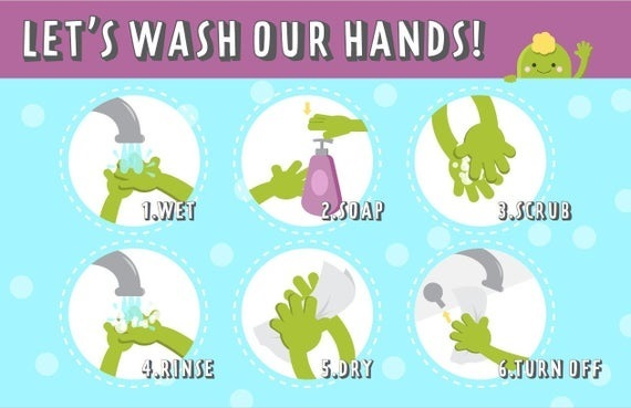 Hand washing poster green