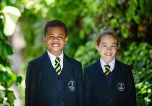 School uniform - Y6 under leaf arch
